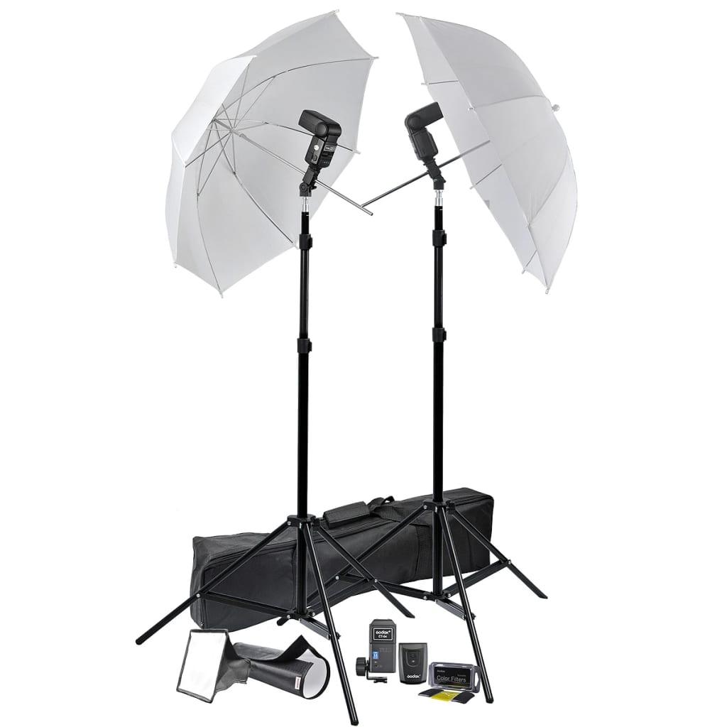 Set přenosné bleskové stativy s deštníkem a světelnými hlavami