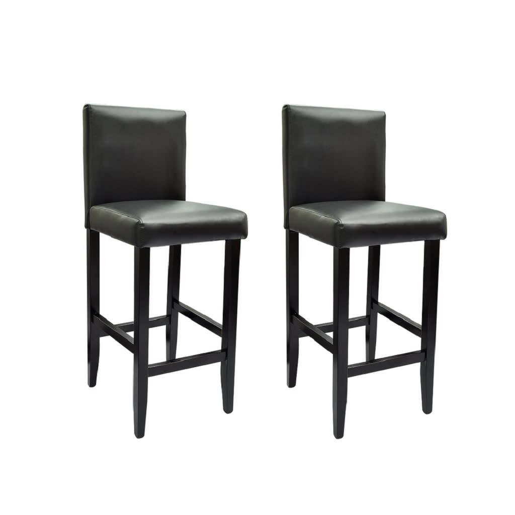 Barové židle, 2 ks, umělá kůže, černá