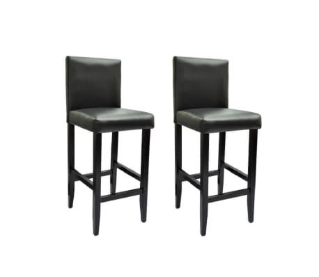 vidaXL Baro kėdės, 2 vnt., dirbtinė oda, juodos[1/5]