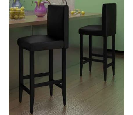 vidaXL Baro kėdės, 2 vnt., dirbtinė oda, juodos[2/5]