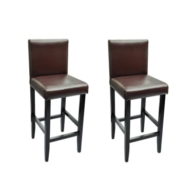 vidaXL Baro kėdės, 2 vnt., dirbtinė oda, rudos[2/5]