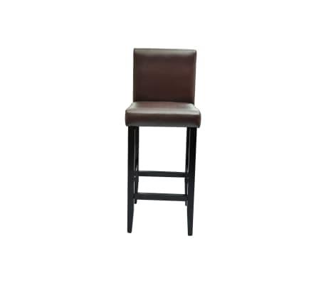 vidaXL Baro kėdės, 2 vnt., dirbtinė oda, rudos[4/5]