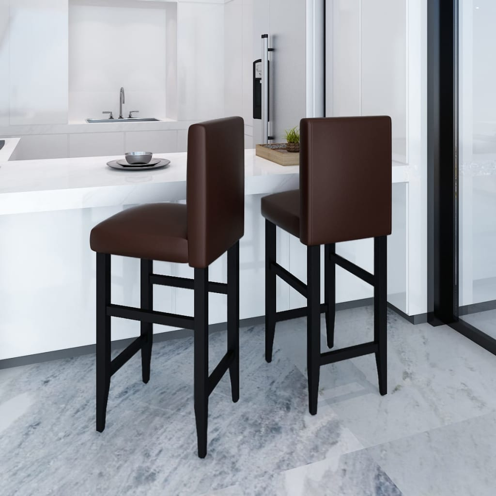 vidaXL Set of 2 Modern Brown Artificial Leather Bar Stool