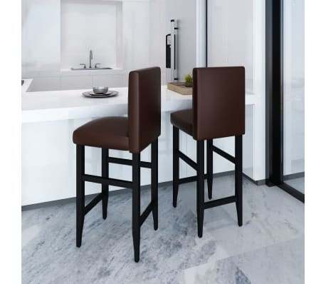 acheter vidaxl tabouret de bar 2 pcs cuir synth tique marron pas cher. Black Bedroom Furniture Sets. Home Design Ideas