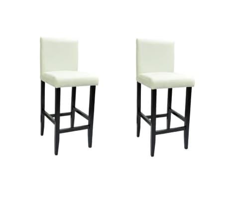 vidaXL Baro kėdės, 2 vnt., dirbtinė oda, baltos[2/6]