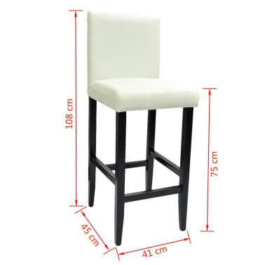 vidaXL Baro kėdės, 2 vnt., dirbtinė oda, baltos[6/6]