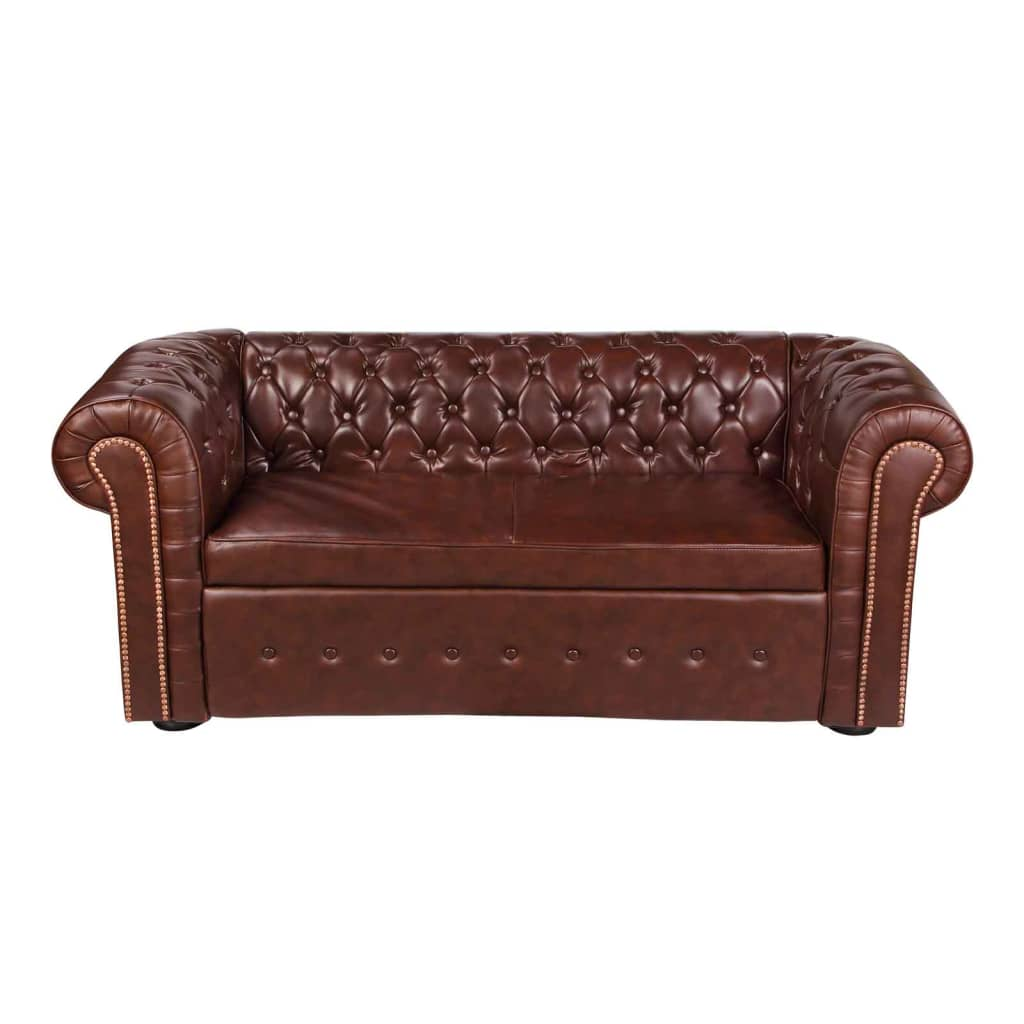 99240234 Chesterfield Sofa Leder Braun
