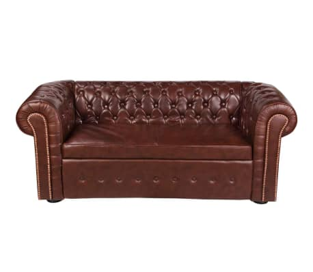 vidaxl chesterfield sofa leder braun g nstig kaufen. Black Bedroom Furniture Sets. Home Design Ideas