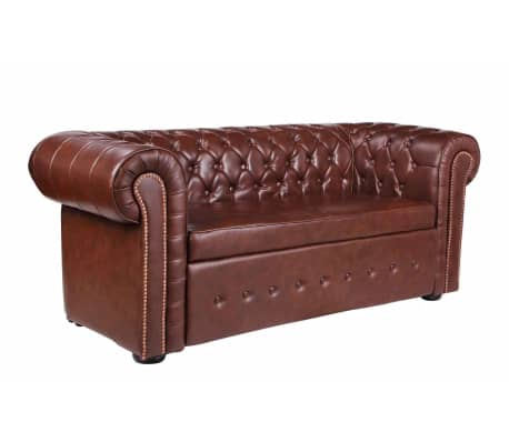 vidaxl chesterfield sofa leder braun g nstig kaufen. Black Bedroom Furniture Sets. Home Design Ideas