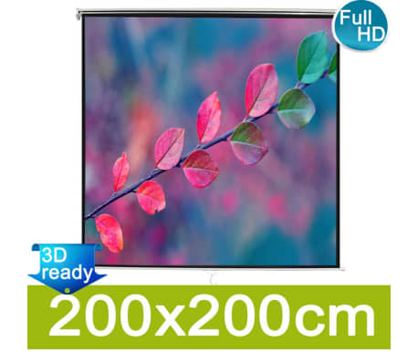 vidaXL Pantalla de proyección manual 200x200 Blanca[1/5]