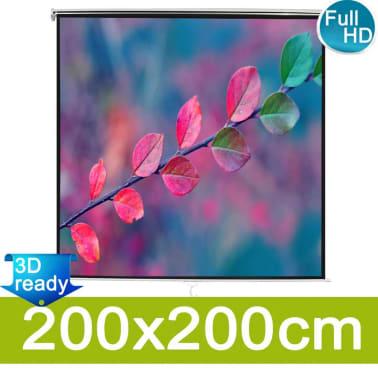 vidaXL Écran de projection manuel 200 x 200 cm Blanc[1/5]