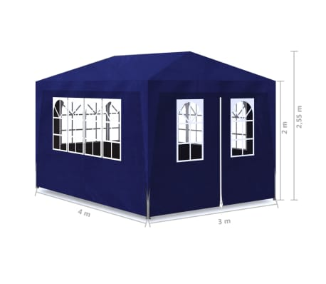 vidaXL 10' x 13' Blue Party Tent with 4 Walls[7/7]