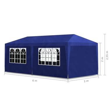 vidaXL Tente de réception 3 x 6 m Bleu[6/6]