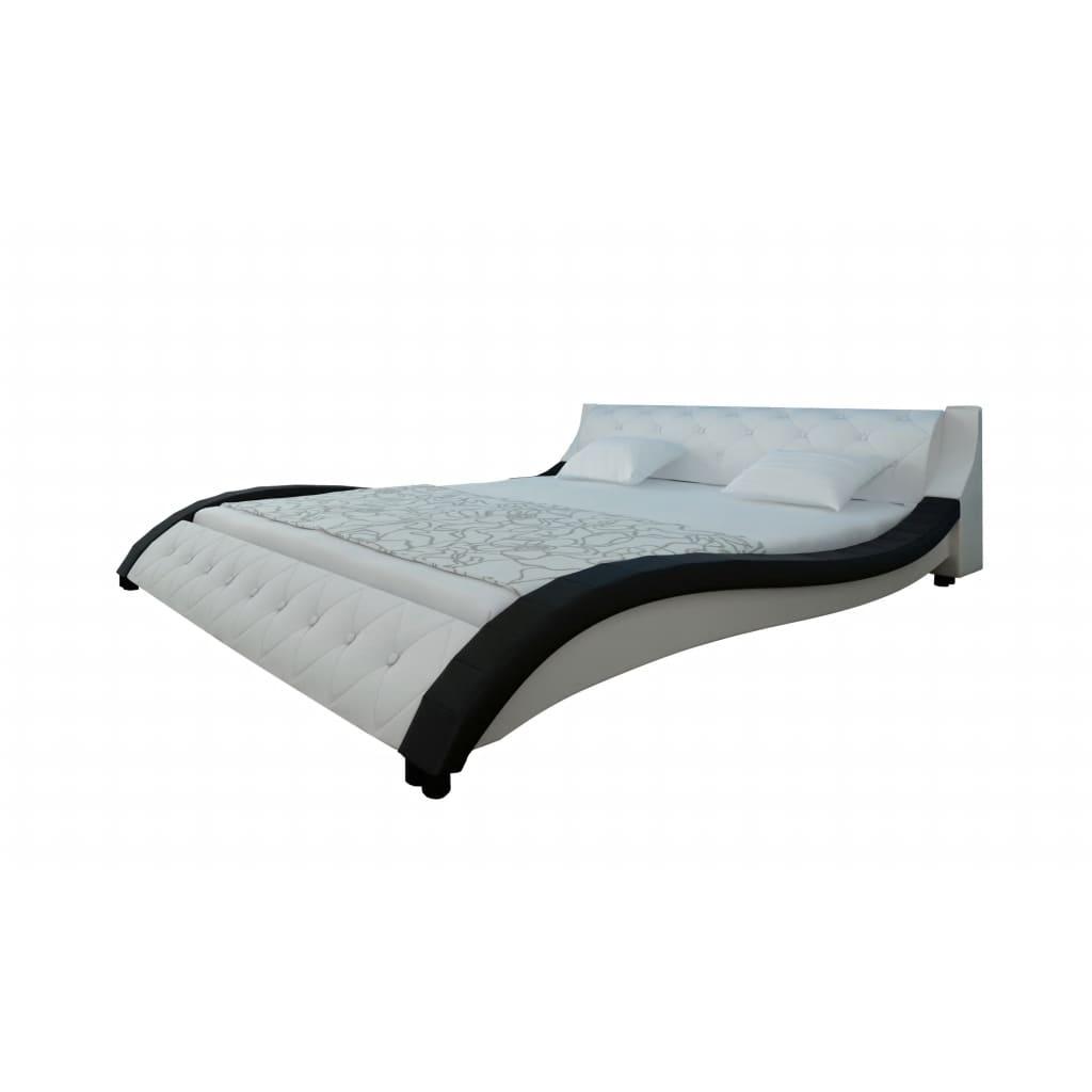 Kožená postel 140 x 200 cm černo bílá