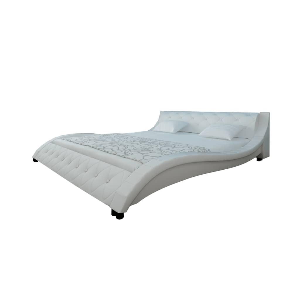 Kožená postel 140 x 200 cm bílá