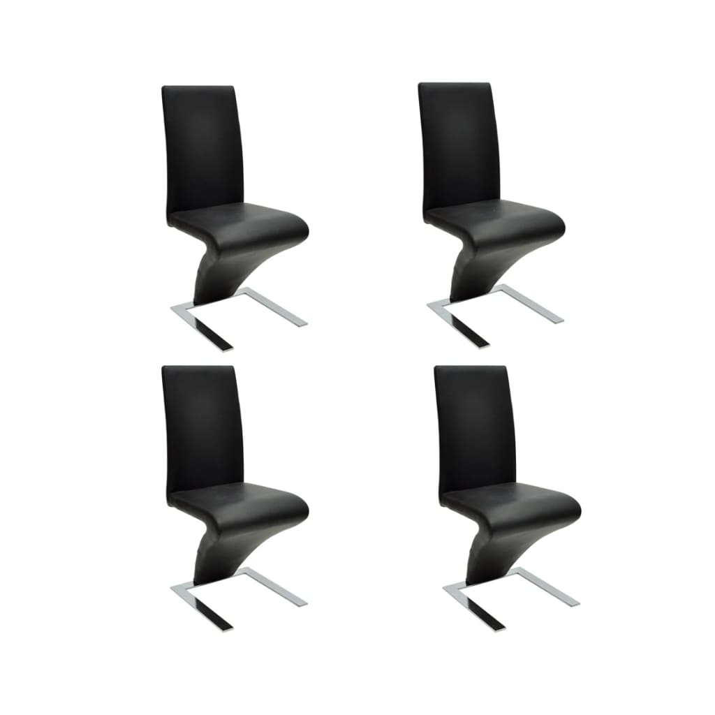 vidaXL Jídelní židle 4 ks z umělé kůže, černá