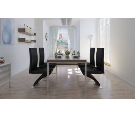Vidaxl set 4 pz sedie per sala da pranzo in pelle for Sedie in pelle per sala da pranzo