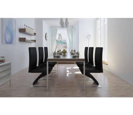 Vidaxl set 6 sedie per sala da pranzo in pelle artificiale for Sedie in pelle per sala da pranzo