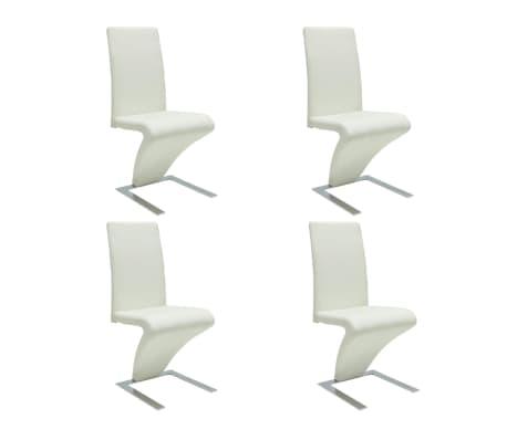 Vidaxl eetkamerstoelen met zigzag kunstleer wit 4 st for Sedie moderne economiche on line