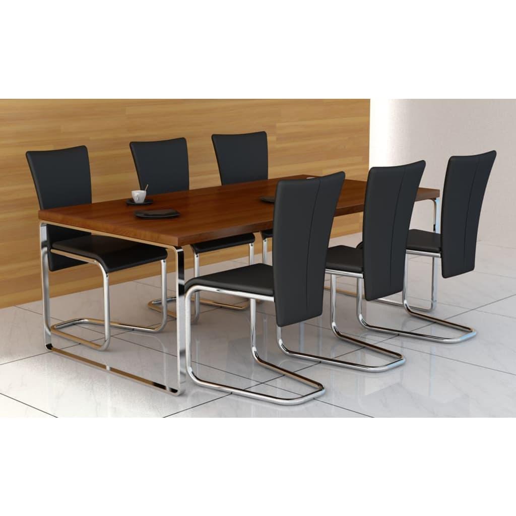 Set moderních židlí z umělé kůže - 6 ks - černé