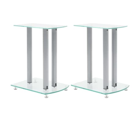 Aluminum Speaker Stands 2 pcs Transparent Safety Glass