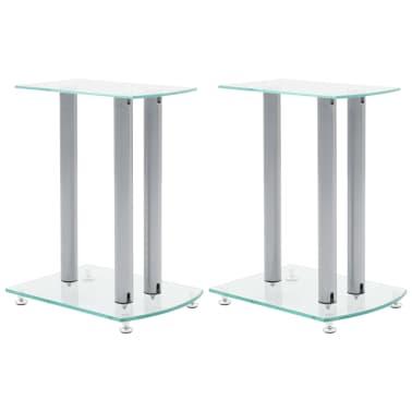 Aluminum Speaker Stands 2 pcs Transparent Safety Glass[1/6]
