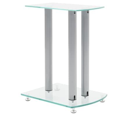 Aluminum Speaker Stands 2 pcs Transparent Safety Glass[2/6]