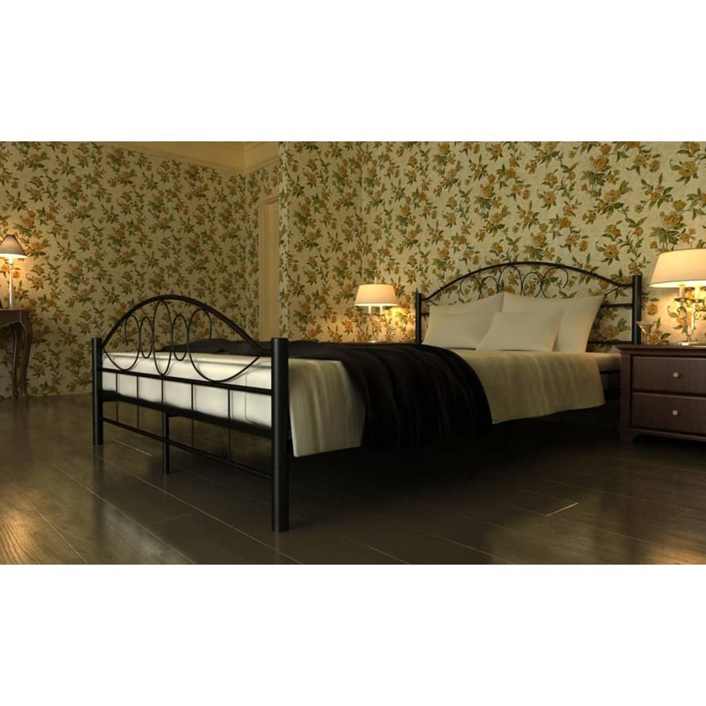 Kovová postel 180 x 200 cm s matrací, černá, spirálový dekor