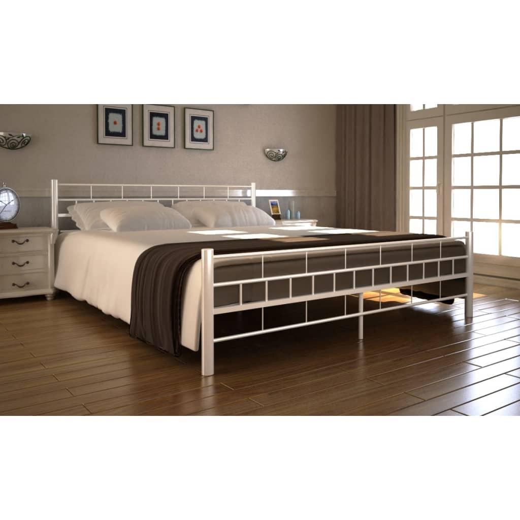 Kovová postel 180 x 200 cm krémová s matrací