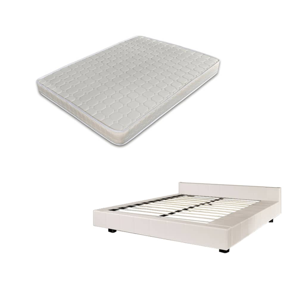 Afbeelding van vidaXL 2-persoons bed Futon wit kunstleer 180 x 200 cm