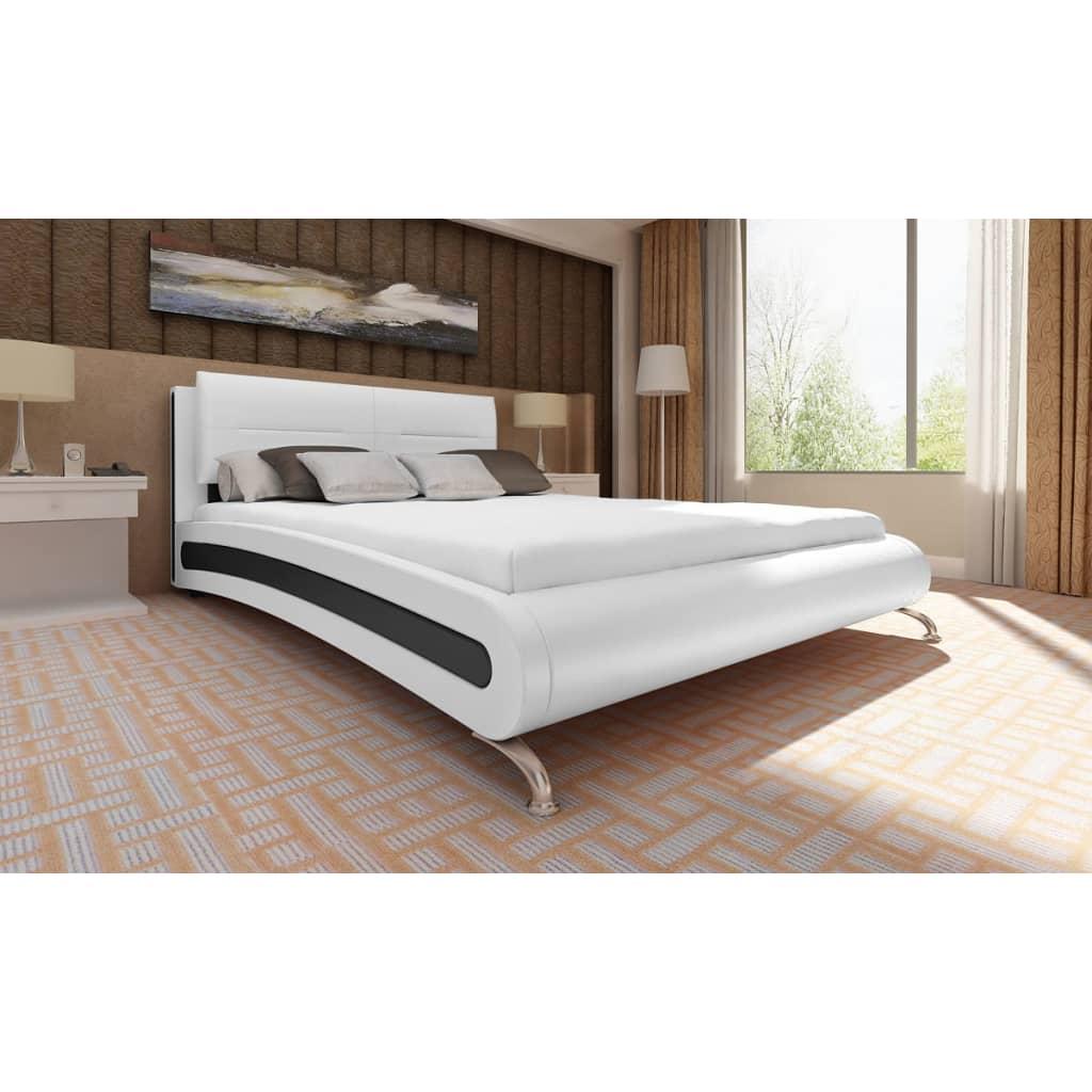 Postel z umělé kůže platforma 140 x 200 cm černobílá s matrací