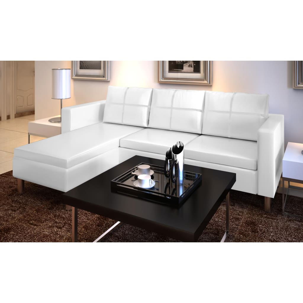 vidaXL Rohová sedačka s lenoškou trojmístná kožená bílá