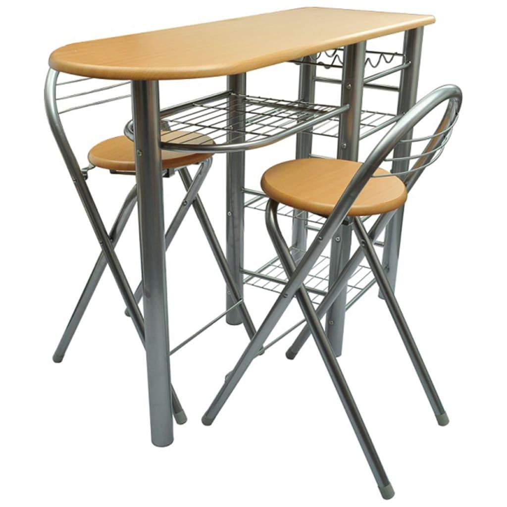 k chenbar k chentheke k chentisch bistrotisch bartisch esstisch mit 2 hocker ebay. Black Bedroom Furniture Sets. Home Design Ideas