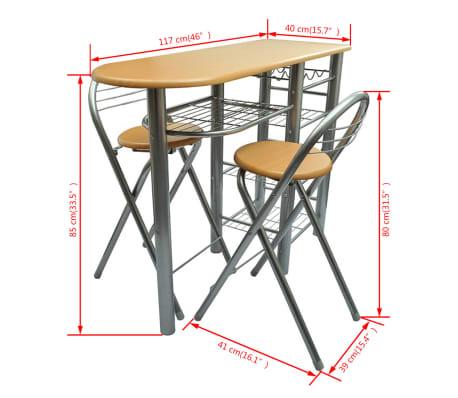 vidaXL Mesa alta de cocina con taburetes madera | vidaXL.es