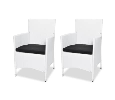 acheter vidaxl chaise de jardin avec coussin 2 pcs r sine tress e blanc pas cher. Black Bedroom Furniture Sets. Home Design Ideas