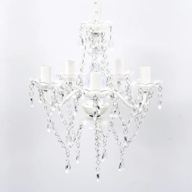 vidaXL Lámpara de araña de cristal 5 bombillas transparente[1/11]