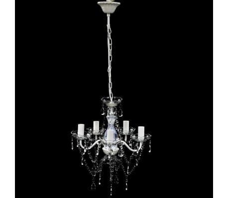 vidaXL Lámpara de araña de cristal 5 bombillas transparente[2/11]