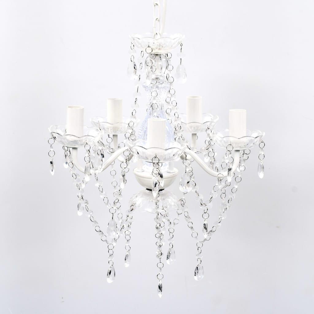PRŮHLEDNÝ klasický křišťálový lustr na 5 žárovek