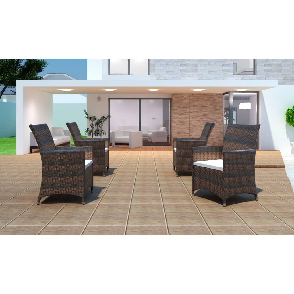 vidaXL Zahradní židle křesla 4 ks polyratanové hnědé