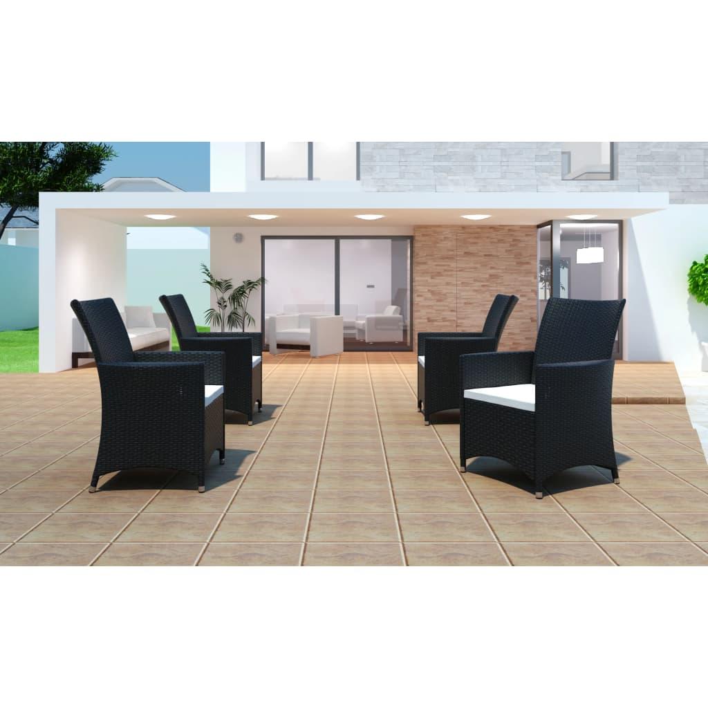 vidaXL Zahradní židle křesla 4 ks polyratanové černé