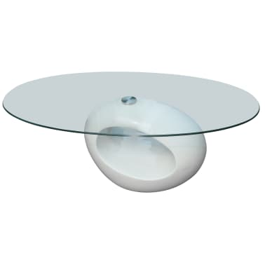 vidaXL Coffee Table with Oval Glass Top High Gloss White[1/6]