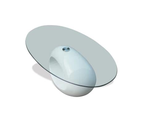 vidaXL Coffee Table with Oval Glass Top High Gloss White[2/6]