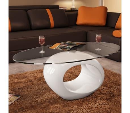 basse Table brillant Blanc en dessus table vidaXL de ovale avec verre 4R35LAj