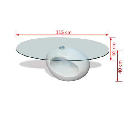 vidaXL Coffee Table with Oval Glass Top High Gloss White[6/6]