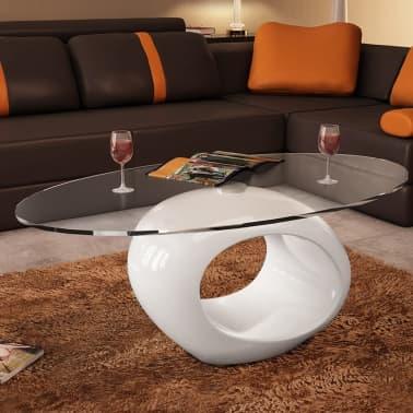 vidaXL Coffee Table with Oval Glass Top High Gloss White[5/6]