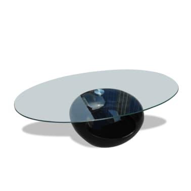 vidaXL Kavos staliukas su ovaliu stikliniu stalviršiu, ypač blizgus, juodas[2/6]