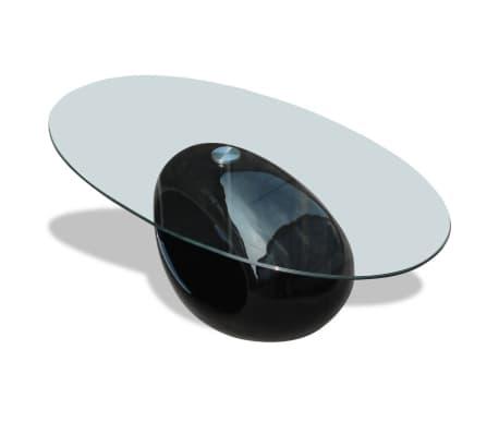 vidaXL Kavos staliukas su ovaliu stikliniu stalviršiu, ypač blizgus, juodas[3/6]