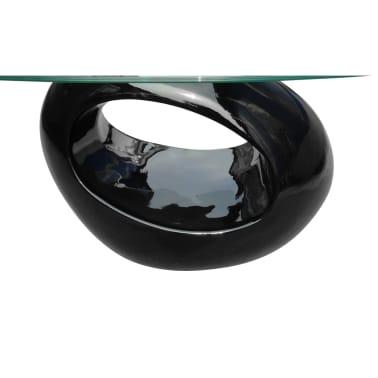 vidaXL Kavos staliukas su ovaliu stikliniu stalviršiu, ypač blizgus, juodas[4/6]