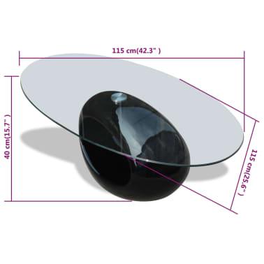 vidaXL Kavos staliukas su ovaliu stikliniu stalviršiu, ypač blizgus, juodas[6/6]
