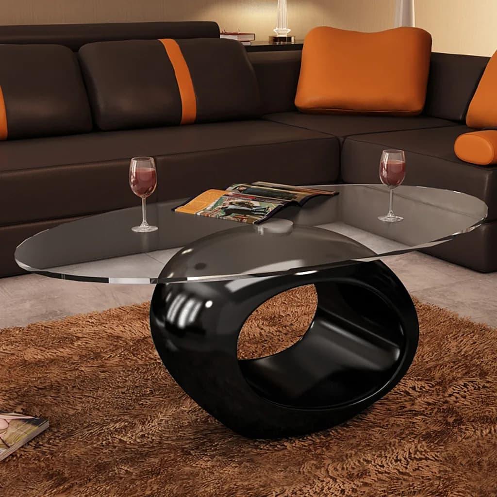 vidaXL magasfényű fekete dohányzóasztal ovális üveglappal